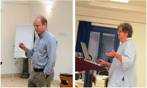 Dr Sean Mayes (Left) and Prof Sue Walker (Right) giving their presentations at the workshop